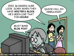 a blogger suffers from writer's block